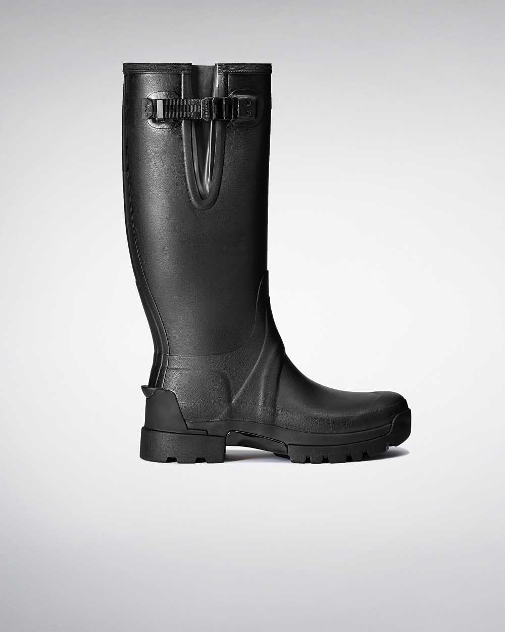 Hunter Hunter Balmoral Adjustable 3mm Neoprene Mens Tall Wellington Rain Boots In Black Australia (Q