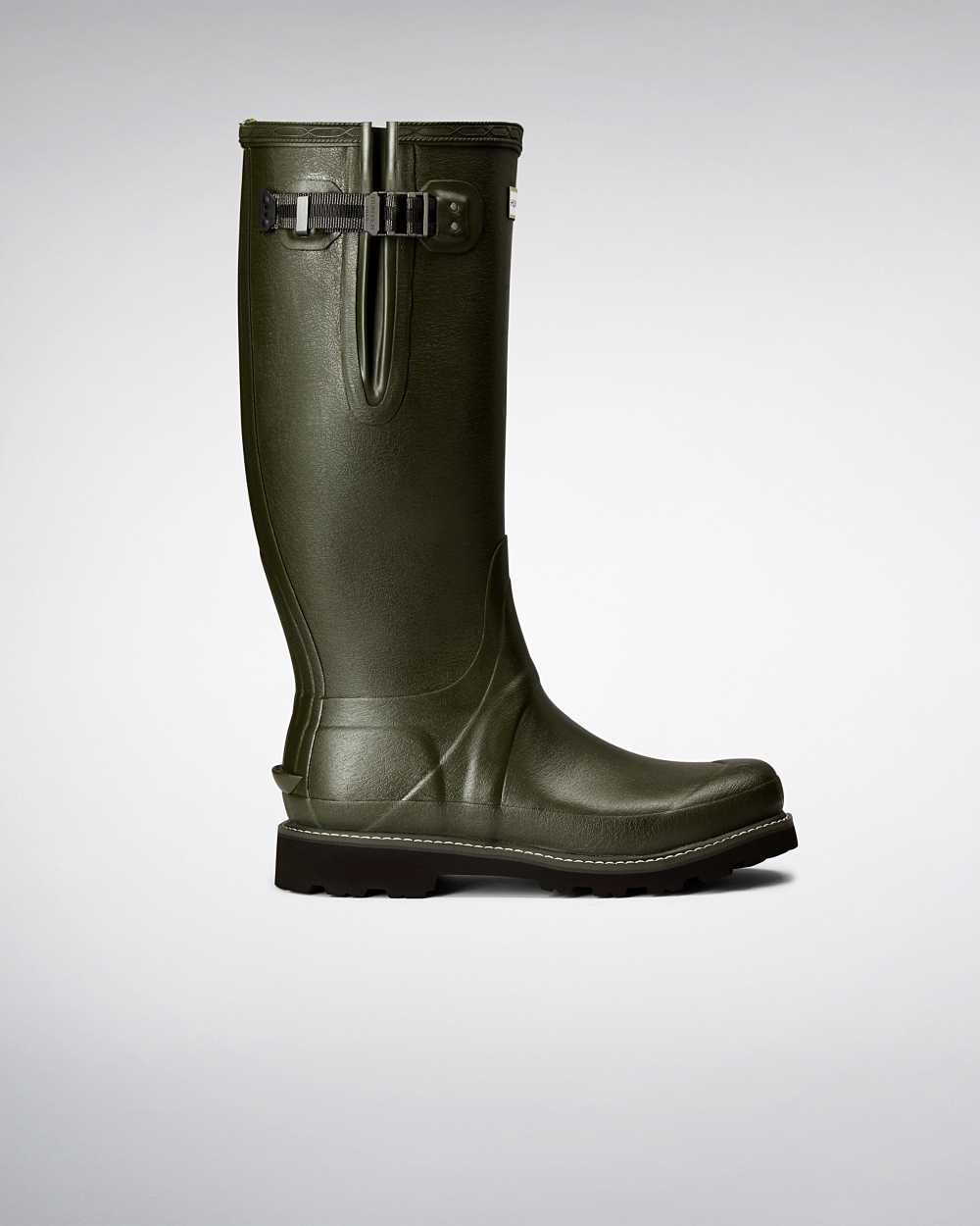 Hunter Hunter Balmoral Side Adjustable Mens Tall Wellington Rain Boots In Green Australia (HCIB-2610