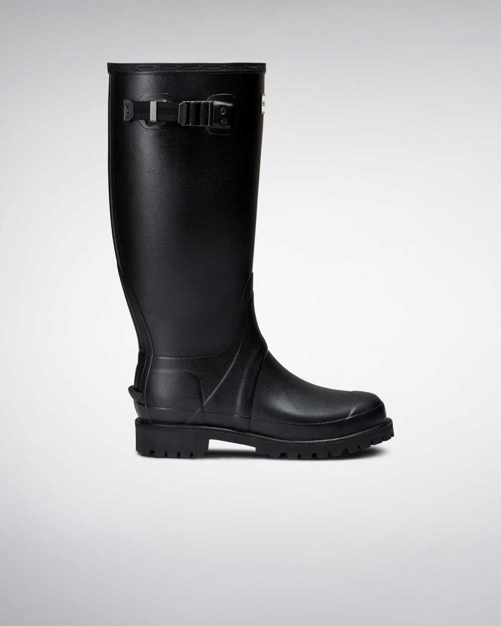 Hunter Hunter Balmoral Wide Fit Mens Tall Wellington Rain Boots In Black Australia (FIVR-94708)