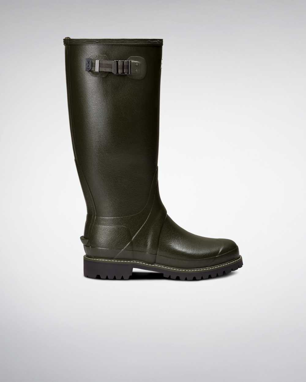 Hunter Hunter Balmoral Wide Fit Mens Tall Wellington Rain Boots In Green Australia (LPSO-32798)