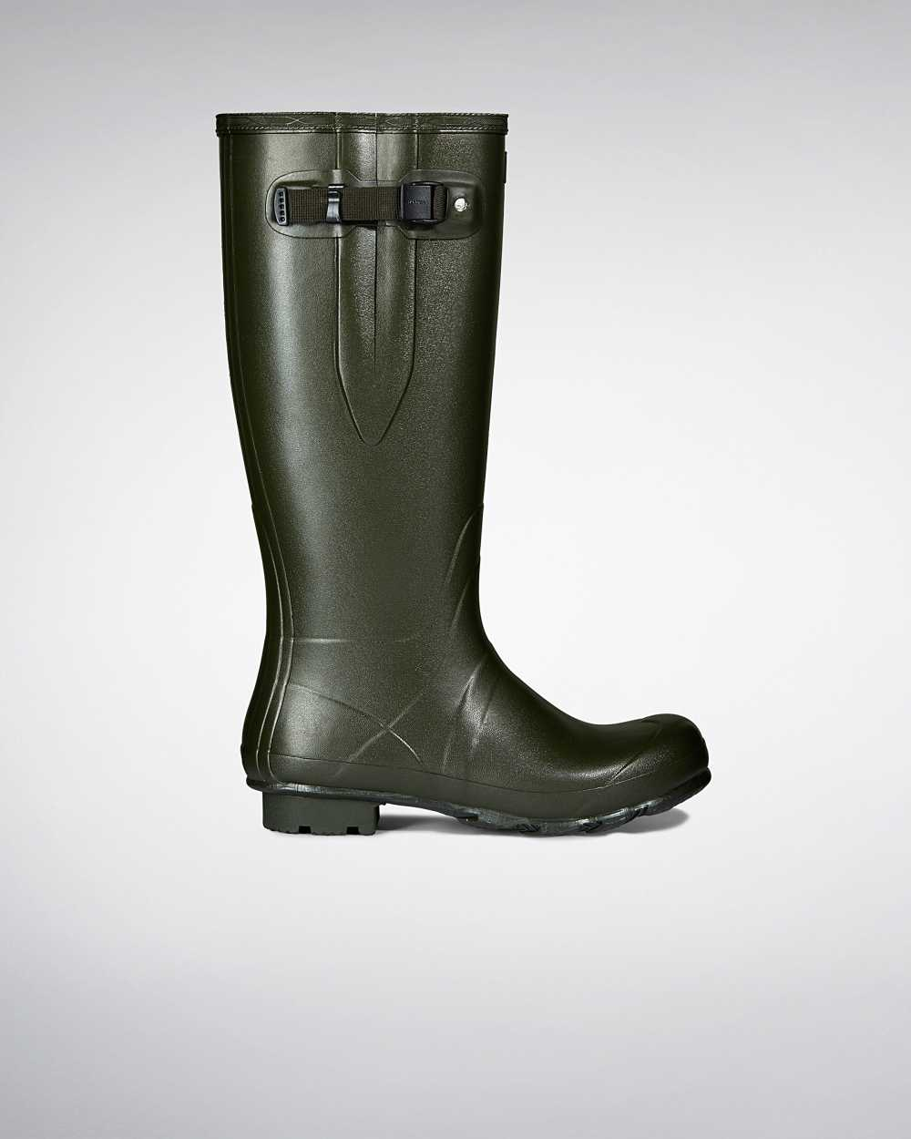 Hunter Norris Field Side Adjustable Neoprene Lined Mens Tall Wellington Rain Boots In Green Australi