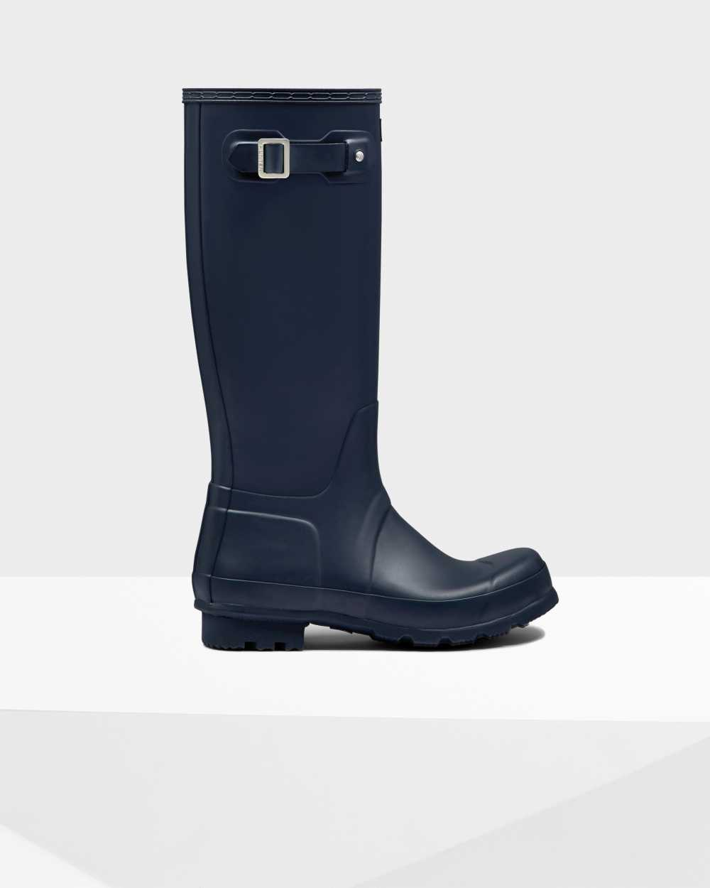 Hunter Original Mens Tall Wellington Rain Boots In Navy Australia (GFYH-14027)