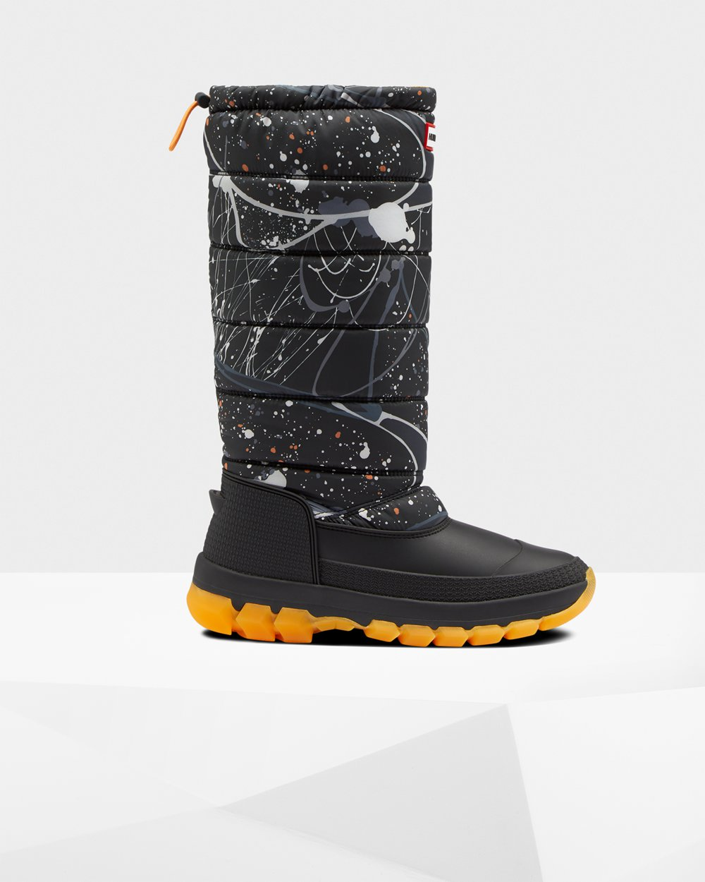 Hunter Original Printed Insulated Tall For Women - Snow Boots Grey Black Australia (OQC-435016)