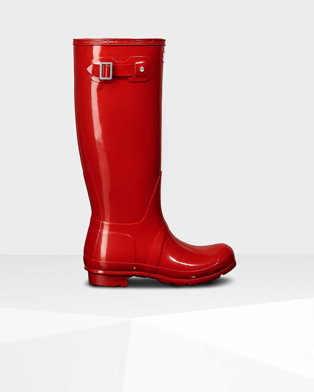 Hunter Original Tall Gloss Womens Tall Wellington Rain Boots In Red Australia (HNZS-65724)