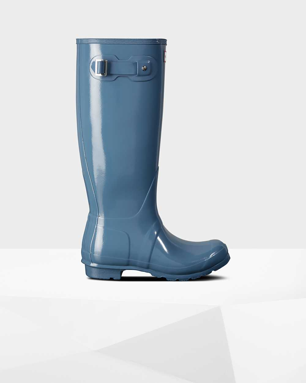 Hunter Original Tall Gloss Womens Tall Wellington Rain Boots In Blue Australia (OZNV-92871)