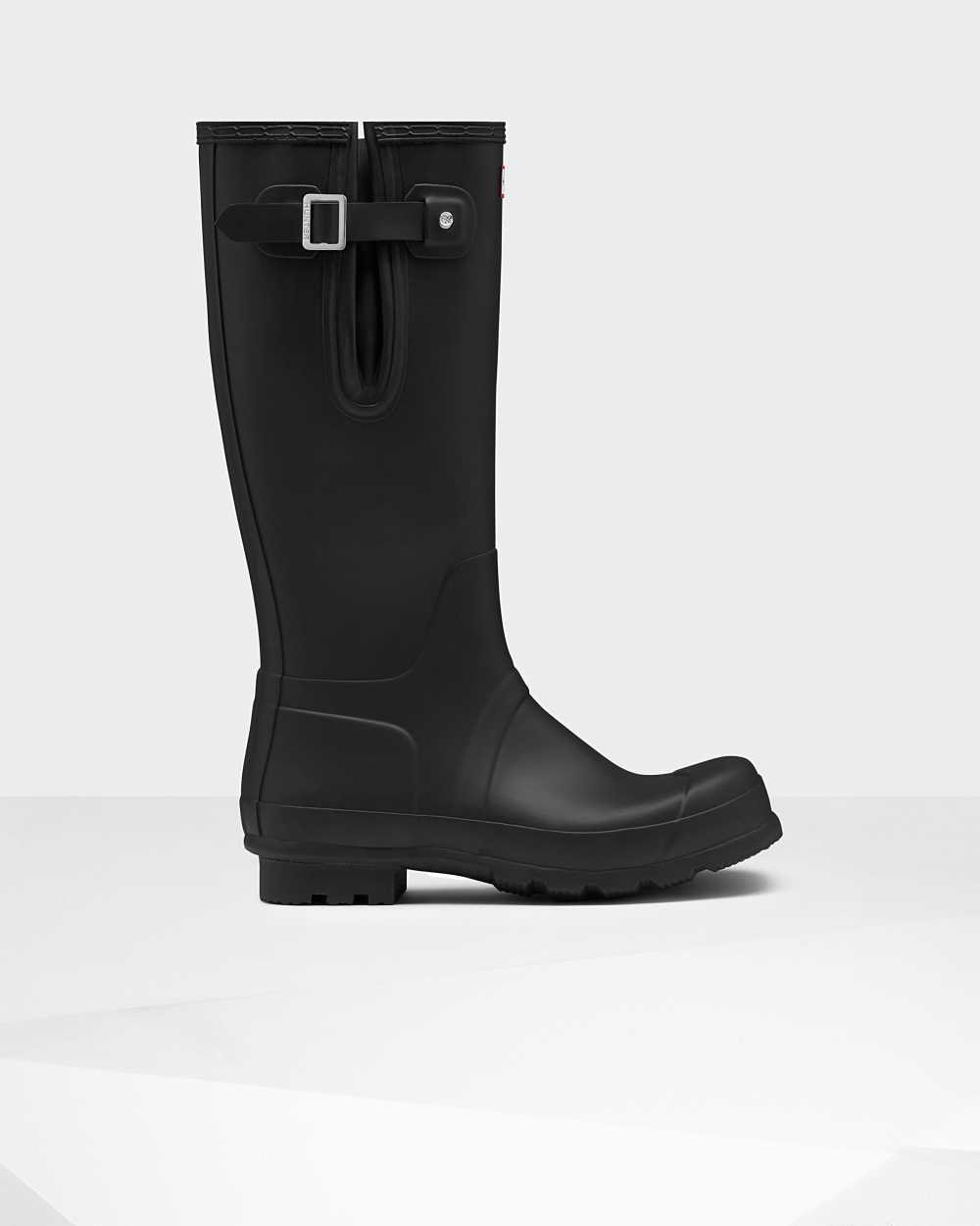 Hunter Original Tall Side Adjustable Mens Tall Wellington Rain Boots In Black Australia (LOAM-60715)