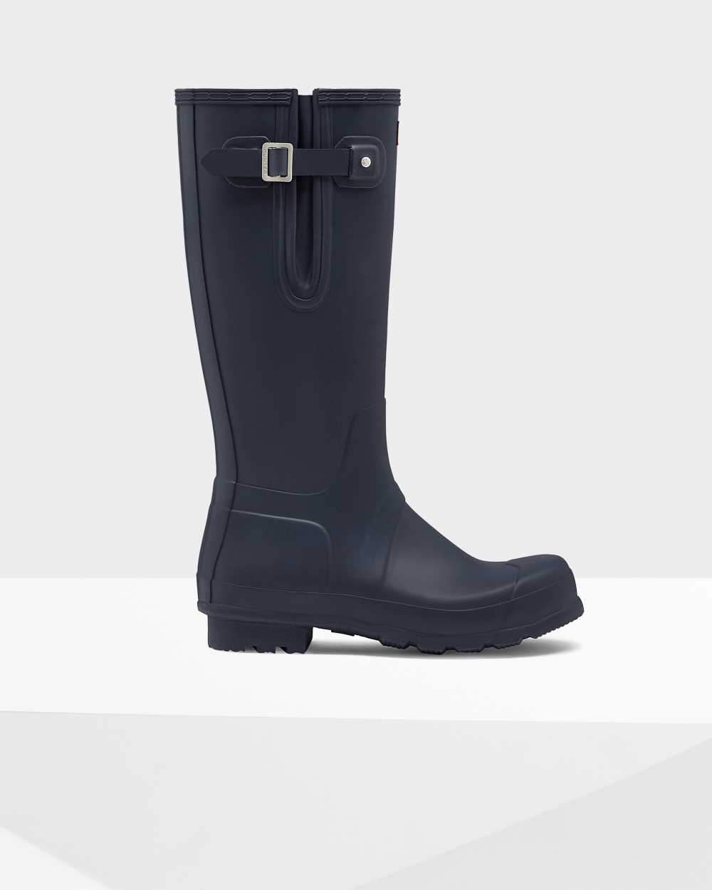 Hunter Original Tall Side Adjustable Mens Tall Wellington Rain Boots In Navy Australia (RNWP-69037)