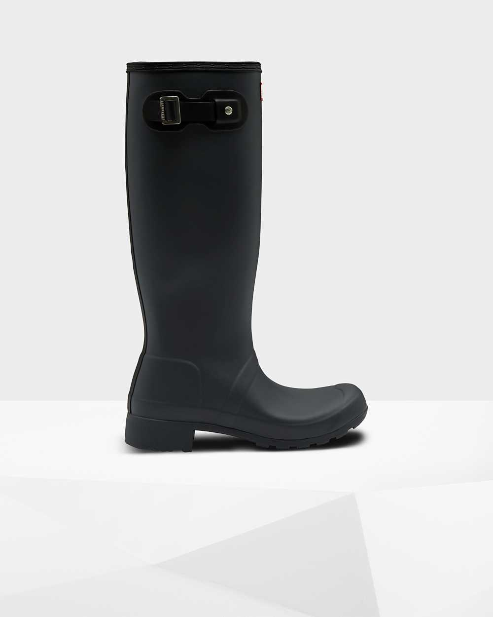 Hunter Original Tour Foldable Womens Tall Wellington Rain Boots In Black Australia (VQAX-54162)