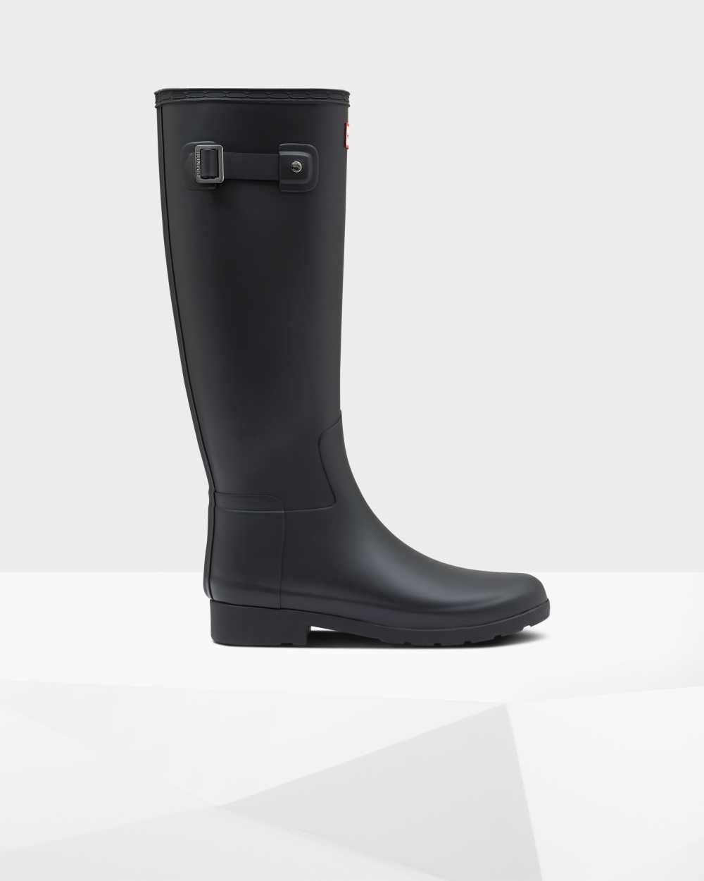 Hunter Refined Slim Fit Womens Tall Wellington Rain Boots In Black Australia (GAFB-14027)